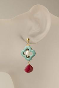 Clover Leaf Ruby Earring